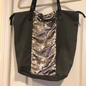 Grey and silver sequined bag